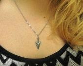 Silver Pewter Arrow Head Necklace