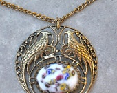 Peacock Necklace with Colorful Cabochon