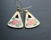 Triangle Floral Cloissone Earrings