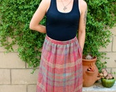 Long Plaid Maxi Skirt - Pink & Burgundy - Size 12