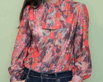 Vintage Red Floral Secretary Blouse - Small