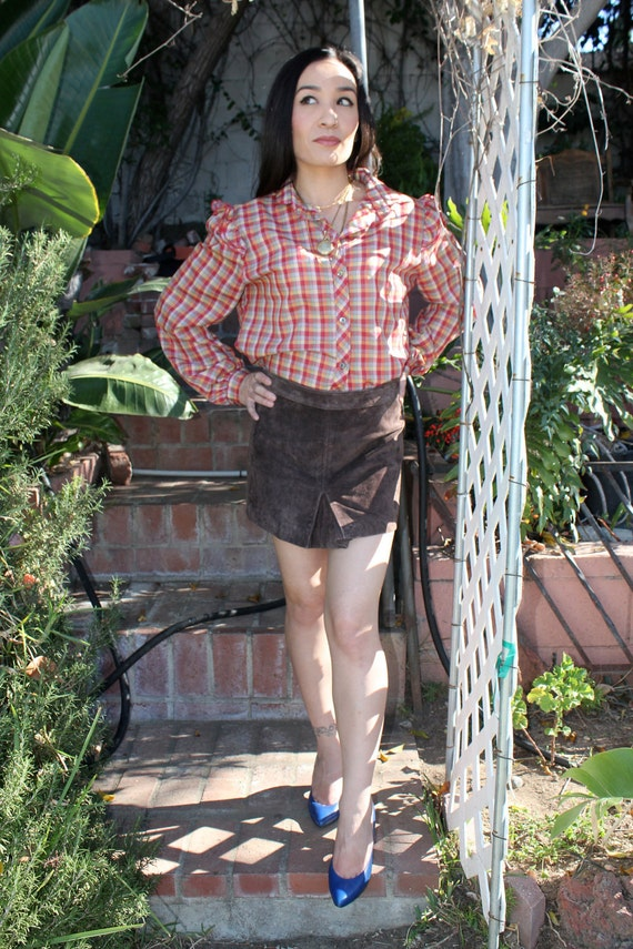 Suede Leather Mini Skirt - Chocolate Brown, Size 7 (medium)