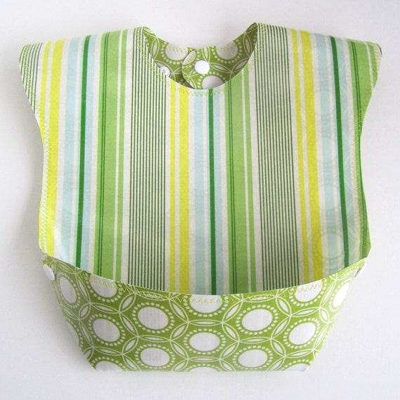 Baby-to-Toddler Bib, Waterproof & Wipeable Laminated Cotton, Snap Pocket, Reversible (Slim Dandy / Opal Green)