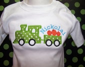 Personalized applique train t-shirt for your little engineer by Sew Jewell
