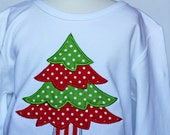 Personalized applique Christmas tree t-shirt by Sew Jewell