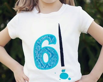 Art - Child Art Birthday Party T-shirt - Applique Number with Monogrammed Paint Brush by Sew Jewell