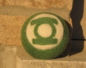 Needle Felted Green Lantern Jingle Bell Ball - MADE TO ORDER