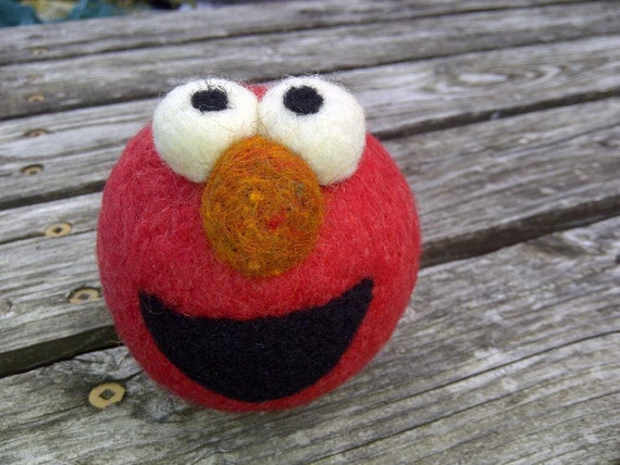 Sesame Street Elmo Rattle Ball - Needle Felted