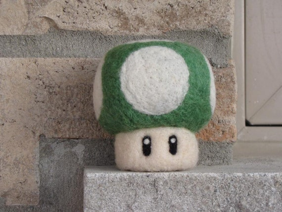 Green Super Mario 1Up Mushroom - Needle Felted