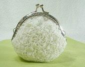 White Crochet Coin Purse