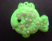 Felt Baby Hair Clip--Green Fish--Left Sided
