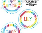 "Custom Rainbow Lollipop Birthday 4""' Party Circles -  DIY Printable Topper/Party Favor Design"