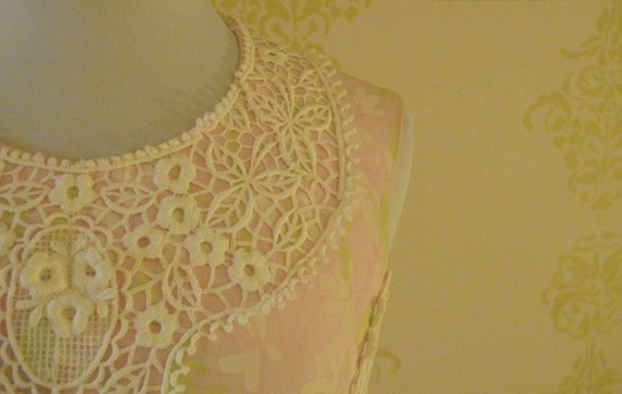 Vintage Lilly Pulitzer Pink hand painted pink  with original lace long dress