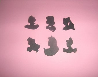 Victorian Style Disney Princess Silhouettes for scrapbooking, invitations, card making, framing