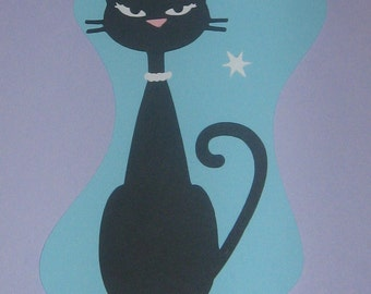 Die Cut retro 1950's Cool Cat for party decorations, invitations, banners room decor, scrap booking