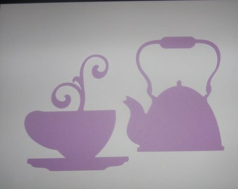 Tea Party die cut, Alice in Wonderland, scrapbooking, party decoration, invitations, banners