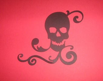 Skull, Punk, ornate die cut for framing, art, Halloween, scrapbooking, parties
