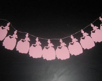 Cinderella silhouette garland, banner for weddings, birthday's, nursery decor