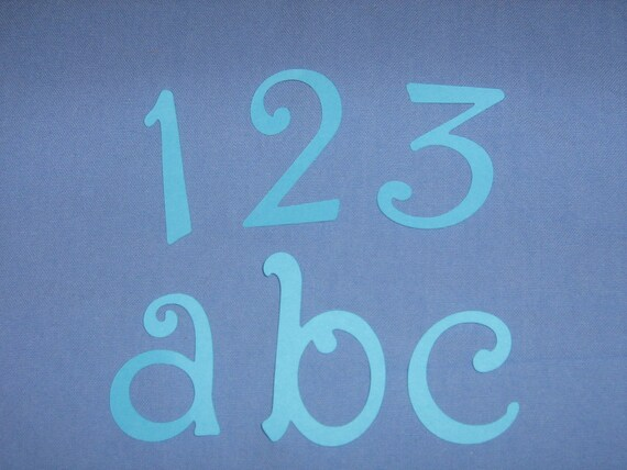 Die cut paper Alphabet and Number for baby shower, scrapbooking, invitations, birth announcements, decor