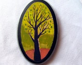 Folk Art - Autumn Tree Small Painting - Citrone Tree with Olive Green Sky and Red Earth -  Original - Modern Folk Style