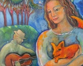 Original Oil Painting - Woman, Fox, Guitar and Magical Night Sky with Angels