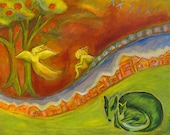 Folk Art - Giclee Art Print -  Yellow Angels Over a Town on a Hill with a Green Fox and Nature