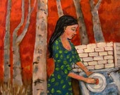 Original Oil Painting - Folk Art - Red Sky and Landscape with Trees and Outdoor Kitchen