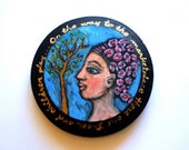 Inspirational Seeing Eyes - Original Acrylic Painting on Wooden Circle - Black and blue with Gold