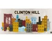 Clinton Hill Brooklyn Birch Wood Print