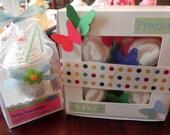 Receiving Blanket Milkshake and Diaper & Bodysuit Cupcake Gift Set Combo - baby blanket cute unique baby shower gift