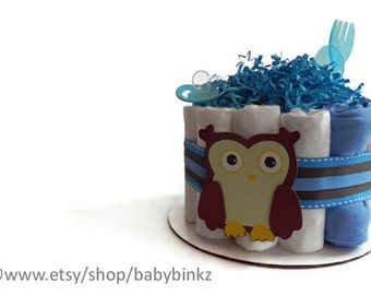Blue Owl Diaper Cake - One Tier  Baby Shower gift or centerpiece cute unique boy custom