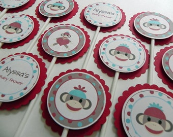 Cupcake Toppers: Red & Blue Sock Monkey - Baby Shower Decorations