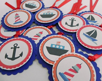 Party Favor Gift Tags: Blue Nautical Theme with Boats & Anchors- Baby Shower and Party Decorations