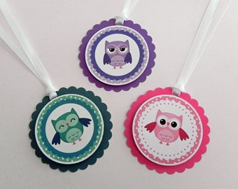 Party Favor Gift Tags Girl Owls in Pink, Purple & Teal, Party and Baby Shower Decorations