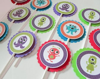 Cupcake Toppers: Cute Monster Cupcake Toppers - Baby Shower or Kids Birthday Party Decorations