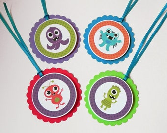 Favor Tags: Cute Monster Cupcake Party Favor Tags - Baby Shower or Kids Birthday Party Decorations