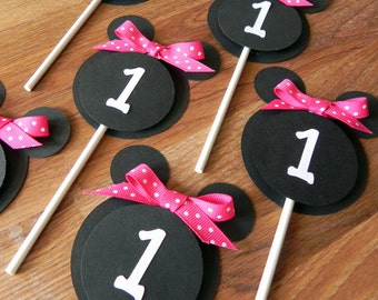 Cupcake Toppers: Minnie Mouse - Pink, White & Black Party Decorations kids birthday girl ribbon polka dot