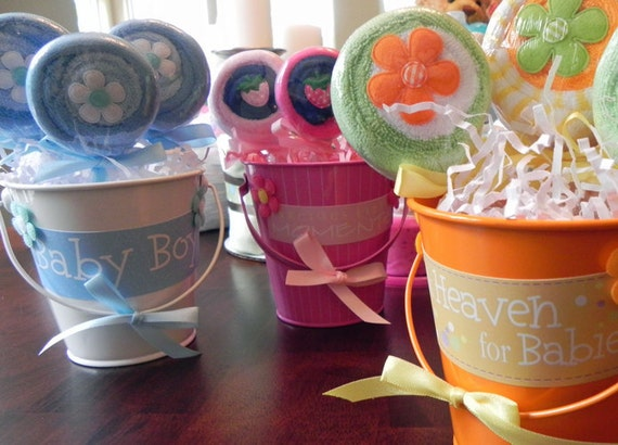 Washcloth Lollipop Pail -  Unique Baby Shower Gifts and Favors - infant washcloth, candy, girl, boy, neutral, cute
