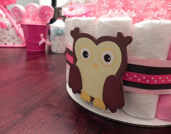 Pink Owl Diaper Cake - One Tier  Baby Shower gift or centerpiece cute unique girl custom