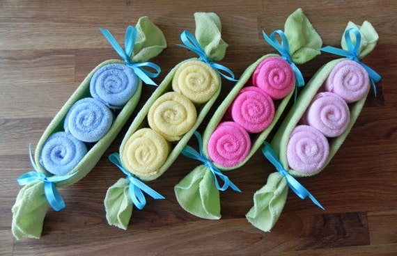 Baby Washcloth Pea Pod - Unique Baby Shower Gifts and Favors infant washcloth cute boy girl neutral