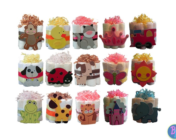 Mini Diaper Cakes - Unique Baby Shower Gift, Centerpiece, Favor cute jungle princess animals nautical boy girl neutral custom