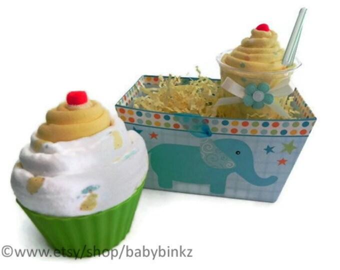 Gift Box Receiving Blanket Milkshake and Jumbo Baby Cupcake Combo - baby blanket burp cloth washcloth shower gift cute unique