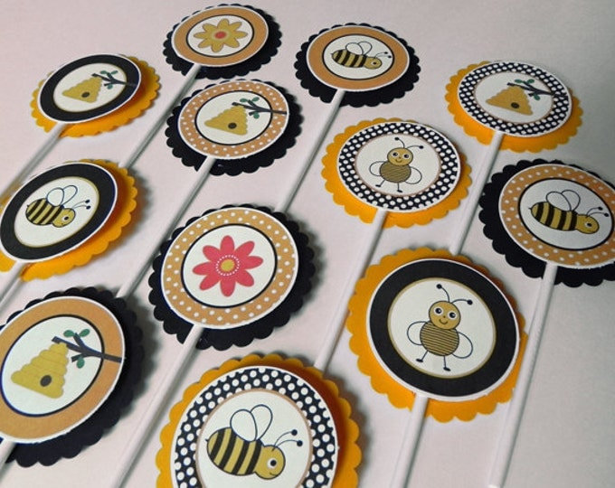 Cupcake Toppers: Bumble Bees & Honey - Yellow and Black Baby Shower or Kids Birthday Party Decorations