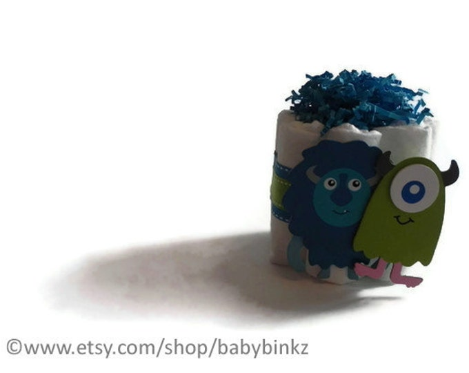 Cute Monster Mini Diaper Cake - Unique Baby Shower Gift, Centerpiece, Favor cute jungle princess animals boy girl neutral custom
