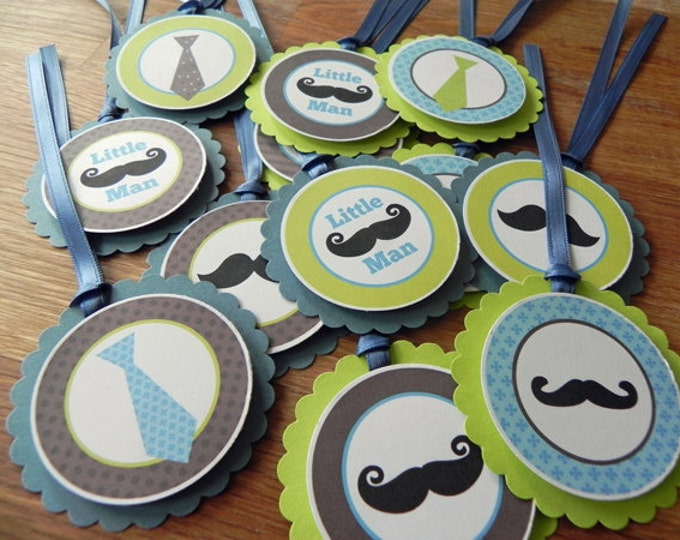 Favor Tags: Little Man Mustache & Tie Party Favor Tags - Baby Shower or Kids Birthday Party Decorations
