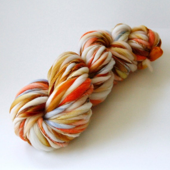 94 Yards Handspun Thick and Thin Slub Yarn - 3.2 Ounces - Free Shipping in the US