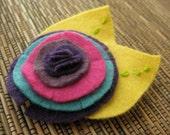 Eco Felt fabric flower girl's hair clip Lollipop pink blue purple headband