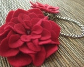 Ruby Red Sweater Guard eco friendly felt Flowers Vintage inspired accessories