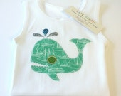 Nautical Whale in Green - Baby Boy Unisex SInglet/Tank