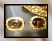 Sarah Coventry Amber Topaz Rootbeer Glass Signed Demi Parure Flapper Style Set